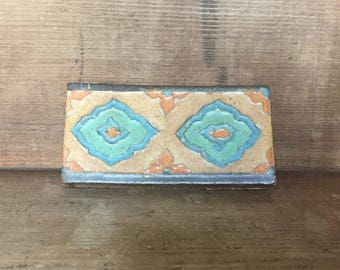 Vintage Stoneware Pressed Border Art Pottery Tile Hand Made Rustic Medallion Accent
