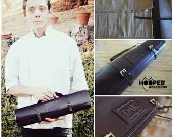 Genuine leather chef roll with initials, knife roll, chef case, chef roll, knife case, knife bag, cutlery roll, tool roll *made to order*