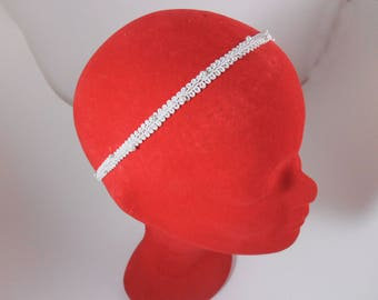 Bridal hair accessory: white bridal Headband with pearls / wedding