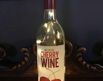 Wine bottle lamp. Lamp, cherry lamp,