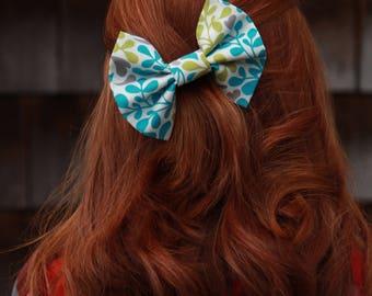 Stylish Hair Bow - Blue, Lime Green, & Grey