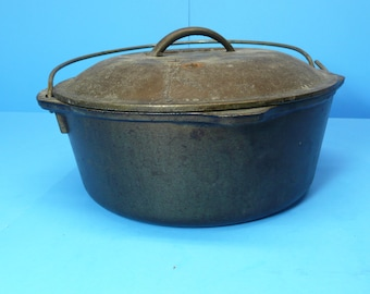 "Vintage Lodge 10 1/4"" Cast Iron Dutch Oven Camping Cookware Cast Iron Pot"