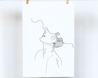 Minimalist Female Line Drawing Doodle Art Print - A5 and A4 available