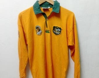 Vintage 90s Canterbury Australia L/s Rugby Union Shirt Adults  Wallabies Rugby Shirt Medium Size
