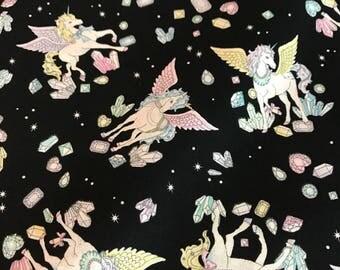 Cosmo Japanese Fabric - Unicorns with Glitter Black - Cotton Shirting