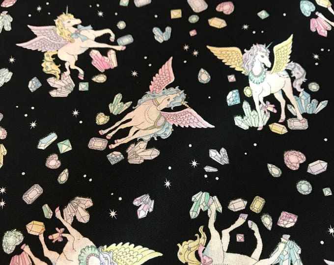 Cosmo Japanese Fabric - Unicorns with Glitter Black - Cotton Shirting