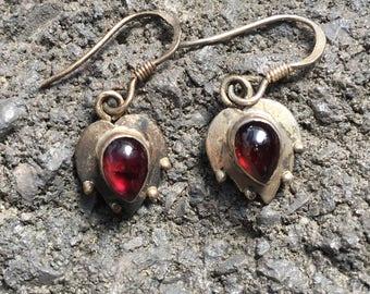 Garnet Earrings...Sterling Silver Earrings...Handmade Vintage Earrings...Ethnic...Hippy...Gypsy...Vintage Shop