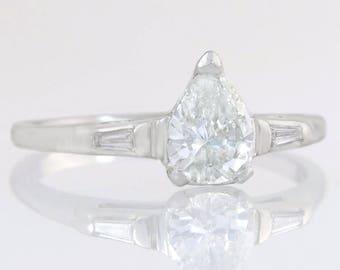 Estate EGL Certified .78ct Pear Cut Diamond 18K White Gold Engagement Ring