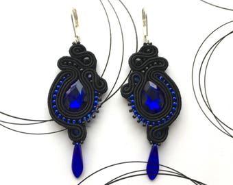 Black Blue Earrings, Long Earrings, Modern Earrings, Black And Blue Jewelry, Gift For Girlfriend, Modern Style Earrings, Glamour Jewelry