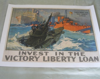 """Original World War I Leon Alaric Shafer Victory Liberty Loan poster """"They Kept The Sea Lanes Open!"""" 1917, vintage WWI, Navy, militaria"""