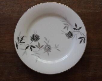 Vintage Noritake Rosamor Salad Plates Set of 10 c50s-70 Grey Roses Platinum