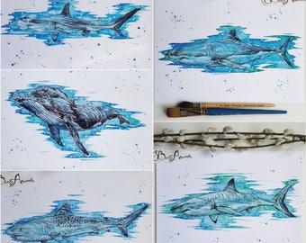 whale decor, shark print, whale print, shark decor, shark art, shark gift, nautical decor, ocean animals, scuba diving, nautical nursery,