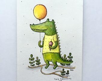 Cute animals watercolor illustration (optional list)