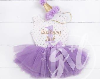 Birthday Girl outfit, First Birthday Dress, Purple and gold birthday outfit, 1st birthday dress, Birthday Girl dress polka dot