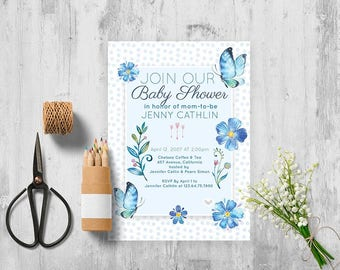 BUTTERFLY BABY SHOWER Invitation, Baby Shower Invitation Butterfly, Baby shower Invitation with butterflies, Blue baby shower invitation