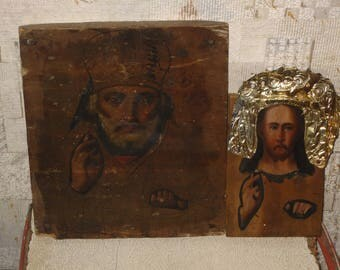 Two Antique 19c Russian Orthodox Hand Painted Wood Icon Nicholas Wonderworker 25.5 * 21 cm. + Christ Pantocrator 16 * 10.5 cm.