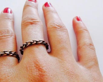 Braided copper ring, bride ring,Copper ring, Stacking ring