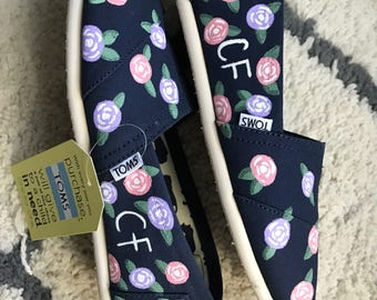 65 Roses for Cystic Fibrosis Awareness Hand Painted Toms
