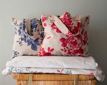 Vintage Red / Blue Roses Cotton Tote / Market / Book Bag