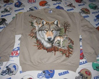vtg 90s WOLF CREWNECK - sz m - biker hipster indie ironic sweatshirt