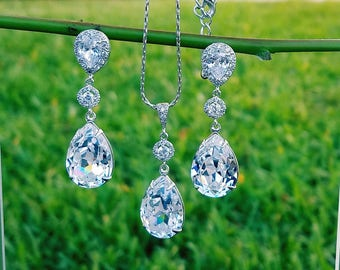 Earrings/Necklace /White Crystal Teardrop /Swarovski /Rhodium Plated.