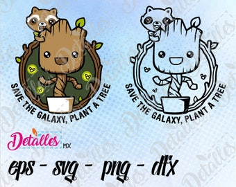 Groot Baby svg with Rocket Racoon, guardians of the galaxy clipart SVG Cutting Vector High Quality design for Cricut and Silhouette Cameo