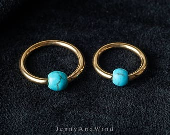 belly ring hoop nipple ring belly button ring nipple ring nipple piercing belly jewelry gold turquoise simple base 14g 1 piece ~H04