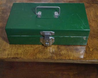 Vintage 1950s Green Tool Box, Full Metal Construction
