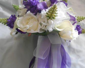 Purple white and lavender bridal bouquet 2 Pieces
