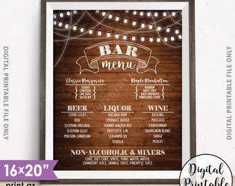 "Bar Menu Sign, Wedding Bar Menu Sign, Birthday Drinks Menu, Anniversary, Retirement, Graduation, 8x10/16x20"" Rustic Wood Style Printable"