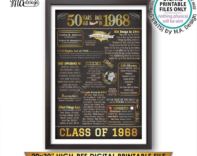 "Class of 1968 Reunion, 50th Reunion 1968 Graduating Class, 1968 Graduation Flashback 50 Years, PRINTABLE 20x30"" Chalkboard Style Sign <ID>"