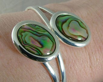Natural Abalone shell adjustable silver plated bangle