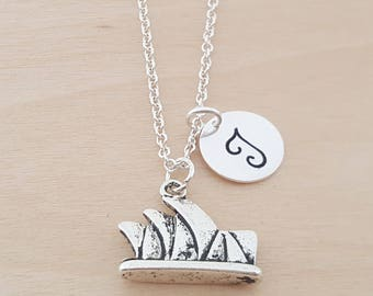 Sydney Opera House - Charm - Personalized Necklace - Custom Initial Necklace- Silver Necklace