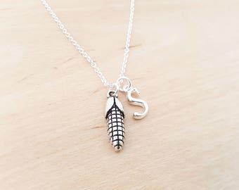 Corn Cob Necklace - Maize Charm - Personalized Necklace - Custom Initial Necklace- Silver Necklace