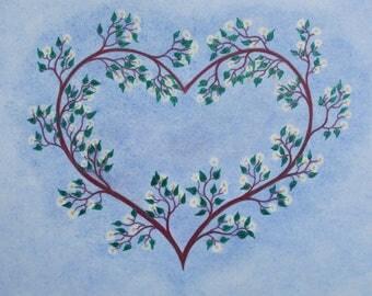 Heart Card, Flowers Wedding Card, Blossom Love Card, Flower Heart Anniversary Card, Abstract Flower Card, Spiritual Heart Card, Engagement