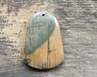 Picasso Jasper Pendant Bead - Bell-shaped - Blue and Gold