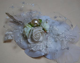 White and silver, wedding shawl or hat brooch clip brooch
