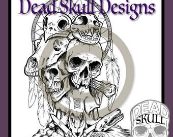 Animal Skull Totem - Colouring Page, Coloring Page, Digital Stamp, Dead Skull Designs