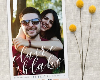 Navy and Pink Floral Wedding Save the Date