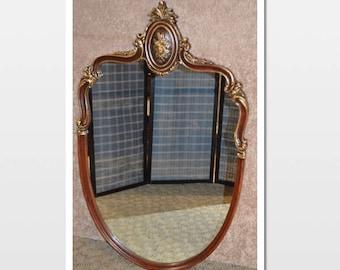Vintage Carved Mahogany Wall Mirror w/Gold Highlights