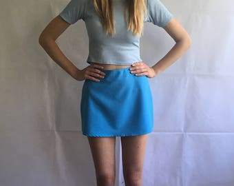 Vintage Blue High Waist Mini Skirt