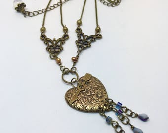 Antique Brass Heart Necklace