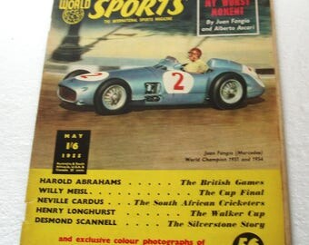 World of Sport Magazine May 1955 Juan Fancio,Alberto Ascari, Motor Racing front Page lots of Sport look at the Index