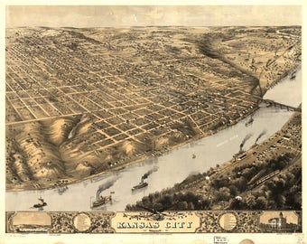 Kansas City MO Panoramic Map dated 1869. This print is a wonderful wall decoration for Den, Office, Man Cave or any wall.