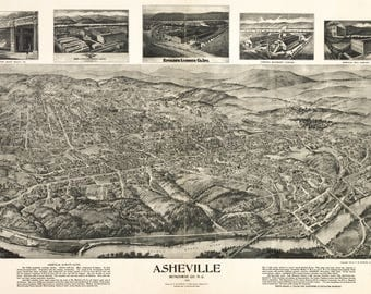 Asheville NC dated 1912. This print is a wonderful wall decoration for Den, Office, Man Cave or any wall.