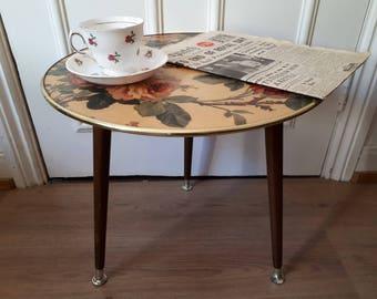 Mid Century Side Table Retro 1960u0027s Floral Fibreglass Tripod Table Vintage  Occasional/Coffee Table Dansette