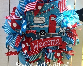 Welcome Camper Wreath, Camper Wreath, Welcome Wreath, Casita Wreath, Casita, Summer Welcome Wreath, Spring Welcome Wreath, Glamper Wreath