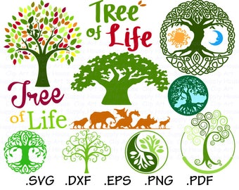 Tree SVG Clipart, Cricut Design File, Tree of Life SVG, Silhouette Cameo, Animal Kingdom Wall Art, DXF File Vinyl Cutter - CA475