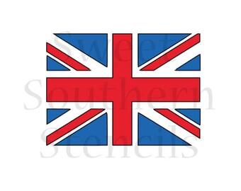 British Flag 2 Piece Cookie Stencil Set