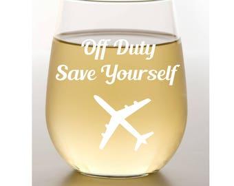 Flight Attendant Gift~ Stemless Wine Glass~ Funny Gift~ Steward Gift~ Etched Wine Glass~ Etched Wine Glasses~ Engraved Glass~ Aviation Gift